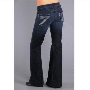 7 For All Mankind Dojo white stitch wide leg jeans